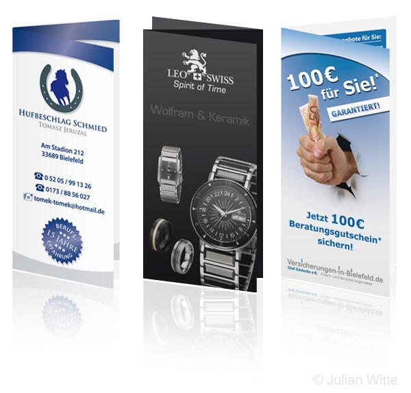 Faltblätter Flyer Wickelfalz Gestaltung und Druck