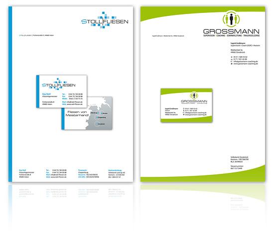 Geschäftsausstattung Visitenkarte und Briefpapier im Corporate Design