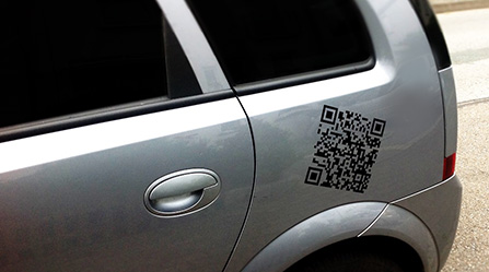 QR-Code Aufkleber für Auto Fahrzeuge Beschriftung Klebefolie